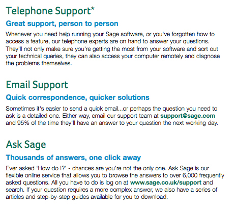 Telephone Support, Email Support, Ask Sage